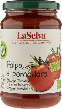 Tomatenpolpa, stückige Tomaten im Glas