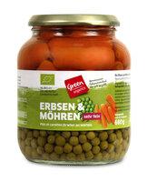 green Erbsen mit Möhren