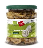 Champignons im Glas geschnitten